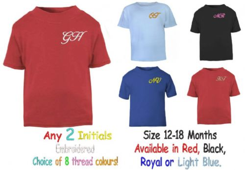Baby/Toddler  Initials T-shirt 12 - 18  Months.  Embroidered.